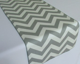 Grey and White Chevron table runner - SELECT A SIZE - more colors available