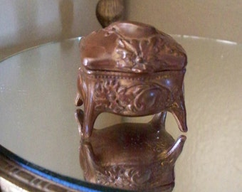 Antique Bronze B & W Brainard Wilson Jewelry Dresser Box Ring Box Jewelry Casket  Bronze Cast Metal