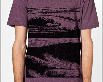 Men's Ocean Waves T Shirt Screen Printed Beach Wear American Apparel Tee XS, S, M, L, XL 9 COLORS gift for him