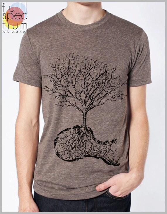 Unique Men's T shirt - Dust - Nature Tree Roots Birds American Apparel Punk Hipster tee XS, S, M, L, XL 9 COLORS