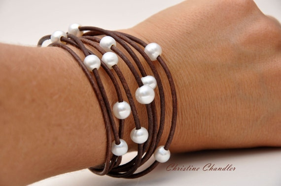 Leather Jewelry - Pearl and Leather Bracelet - Christine Chandler - 8 Strand Leather and Pearl Bracelet - Leather and Pearl Jewelry - Wrap