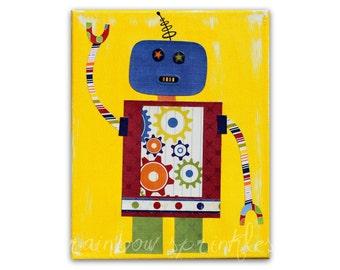 Children's Wall Art Print 16x20 - robot, gears, Nursery Art, Nursery Room Decor, Kids Art, Kids Room Art, Boys Room Art