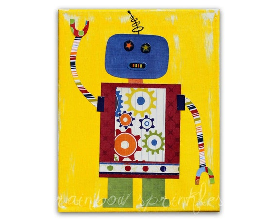Children's Wall Art Print 16x20 - robot, gears, Nursery Art, Nursery Room Decor, Kids Art, Kids Room Art, Boys Room Art