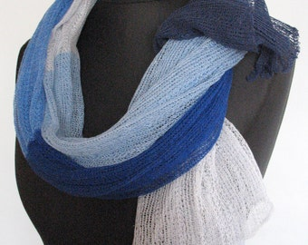 Linen Scarf Shawl Wrap Stole azure cornflower blue - Multicolored, Light, Transparent SALE