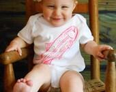 Fish Baby Onesie - Blue or Pink Boy or Girl - Hand Screen Printed
