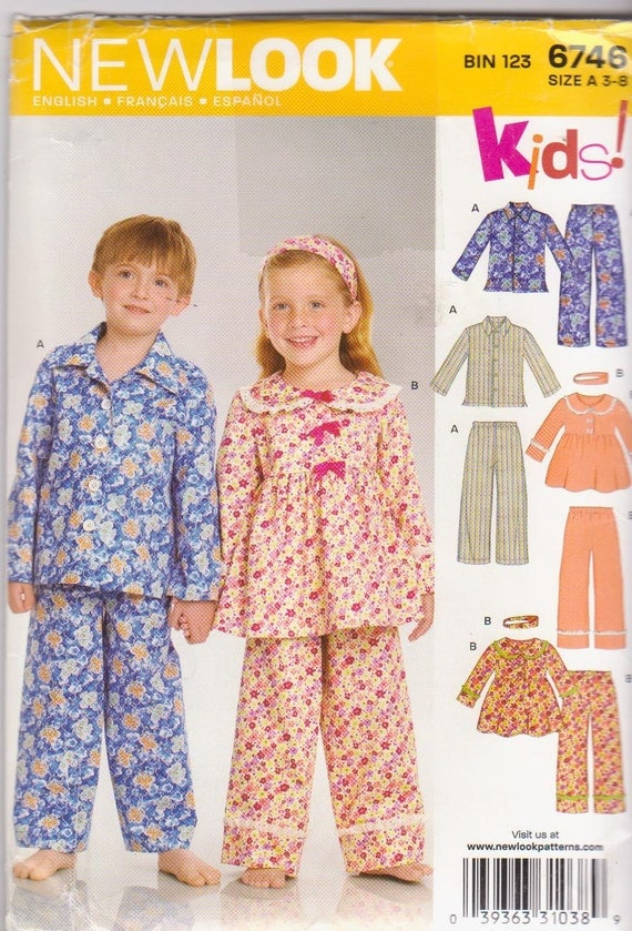 Sewing pattern for boys and girls winter pajamas button front