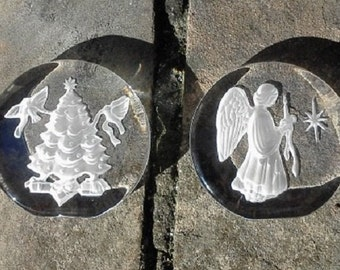 Christmas Tree and Angel Lead Crystal Sculpture/Paperweight Danbury Mint FREE SHIPPIING - order 3 or more Christmas  listings