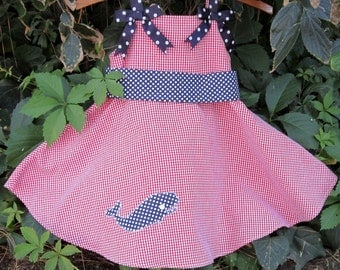 Whale Dress--Red Gingham and Navy Polka Dots---Size 3T