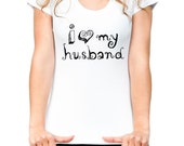 I heart love my husband - Women's Short Sleeve Scoop Neck Cotton T-Shirt Contoured Fit