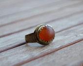 Vintage antique Bedouin ethnic tribal bronze orange Carnelian oval ring - simplistic - Arabic