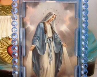 Vintage VIRGIN MARY Easel Shrine-  Italian Plastic-  good vintage condition frame- Last one