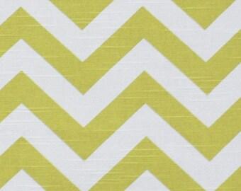 "Artist Green and White Slub Chevron Zig Zag Rod Pocket Drapery Panels Curtains Choose Your Length 50"" x 63, 84, 96, 108, 120"