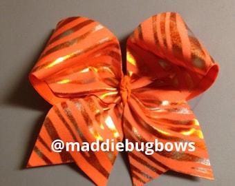 Orange & Gold Cheer Bow
