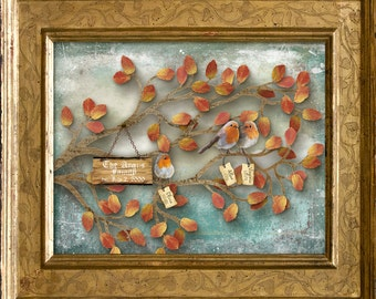 Mother's Day Gift - A family of Three Love Birds/Robins in a tree