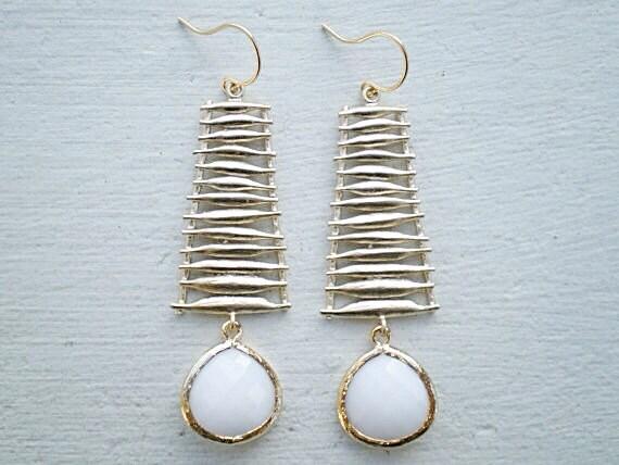 White Earrings/White Opal Earrings