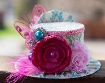 Mini Top Hat  Alice in Wonderland Inspired in Teal Damask - Bridal - Flower Girl - Photo Prop   Birthday Hat