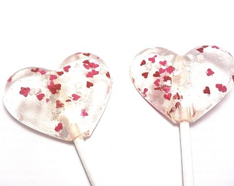 "12 - 2"" HEART LOLLIPOPS with Mini Edible Hearts"