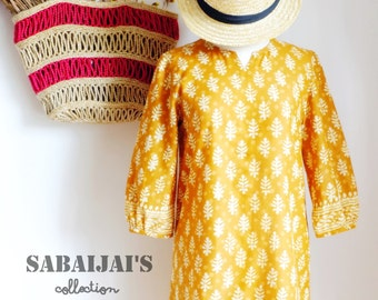 Natural Brown Tunic dress /Indian Dabu Print  /Indian Cotton/leaf and polka dot/women dress