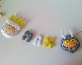 Where the Wild Things Are Felt Name Banner - custom made - Personalised Name Garland