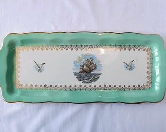 Ceramic sandwich tray, by Digoin & Sarreguemines, sailing ship and seagull decoration in pale green