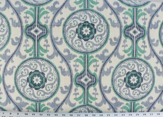 Two 26 x 26 Custom Designer Decorative Pillow Covers - Suzani Metal Grey  or  Ocean Blue Green