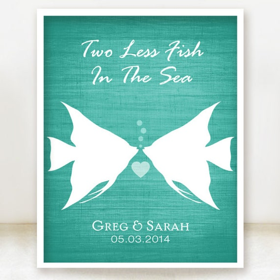 Love is always in bloom custom wedding name date by for Two less fish in the sea
