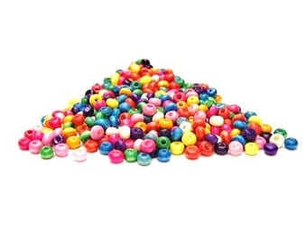 Over 400 Tiny,  Wooden Rondels, Mixed Colors Wooden, Red, Pink, Fuchsia, Green, Yellow, Orange, Aqua - Light weight