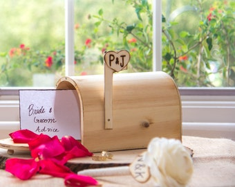 Personalized Wedding Rustic distressed wood Mail Box with engraved bride and groom initials. Advise for Groom and Bride