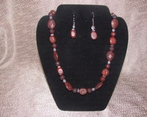 Deep Red Jasper Stone Necklace Set