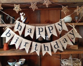 Burlap Happy Birthday Bunting, Birthday Bunting, Happy Birthday Garland, Birthday Garland, Birthday Banner, Burlap Bunting, Burlap Garland