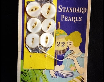 Vintage Mother of Pearl Buttons on Original Card