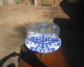 10 1/4 Inch Glass Cake Dome On a Royal Blue and White 12 Inch Plate with a Vintage Brass Base****SALE****