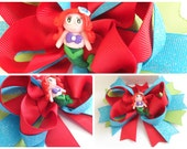 2Pc 5.0in Boutique Hair Bows Accessories Lady Girls Baby Polymer Clay Center Grosgrain Ribbon Little Mermaid