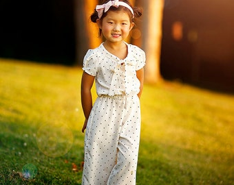 Myra Jumpsuit Romper PDF Pattern & Tutorial SET, All sizes 2-10 years included.