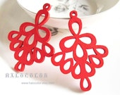 Painting Series - 37x52mm Pretty Red Bell Flower Wooden Charm/Pendant MH218 03