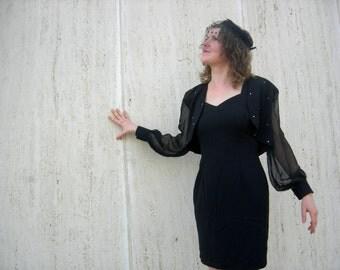 Vintage black dress 1980s rhinestones