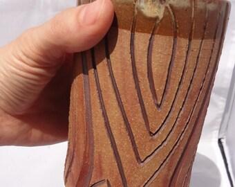Ceramic Tree Tumbler, Ceramic Tumbler, Stoneware Tree Vase, Ceramic Tree Vase, Ceramic Vase, Carved Tree Vase, Custom 4-6 weeks production!