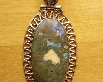Rainforest Opal Pendant, Sterling Silver Piecrust Frame, Vintage Nature Jewelry