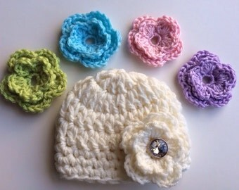 Baby Flower Beanie Hat with 5 Interchangeable Flowers