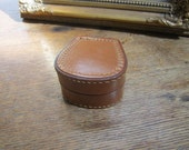 Vintage Leather Trinket / Ring / Cufflink Box. Made in England. Father's Day Gift