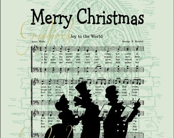Christmas music carolers Green black instant digital download graphic image for iron on transfer to card pillow burlap Decoupage No. D110