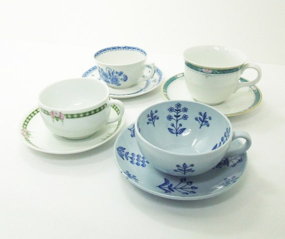 Items similar to 4 sets mismatched tea cups saucers for Teacup party favors