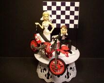 Motorcycle Dirt Bike Bride and Groom W/Die-Cast MXS Samurai Bike and Helmet Funny Bike Wedding Cake Topper