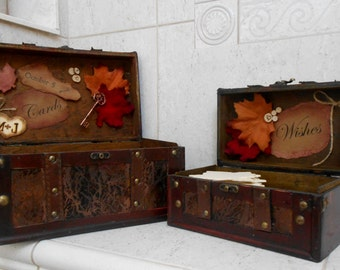 Rustic Fall Wedding Cards and Wishes Boxes / Fall Wedding / Fall Leaves / Wedding Card Box / Wedding Card Holder / Wedding Wishes