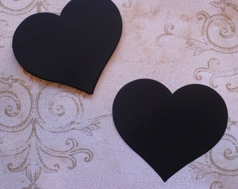 50 Full Heart Shape Die Cuts Made from Black Cardstock for Rustic Weddings Tags Wishes- Use like Chalkboard Labels