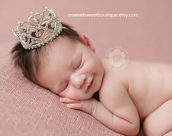 Newborn Crown Photo Prop Baby Crown Headband Princess Photo Prop Baby Headband Newborn Rhinestone Crown Baby Crown Cake Smash Photo Prop
