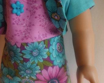 American Girl Doll Clothes Sundress Bolero Aqua Mauve Floral Fits Similiar 18 Inch Soft Bodied Dolls