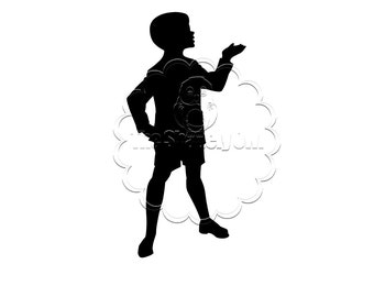 Vintage Child Silhouette Die Cut for Scrapbooking or Cardmaking