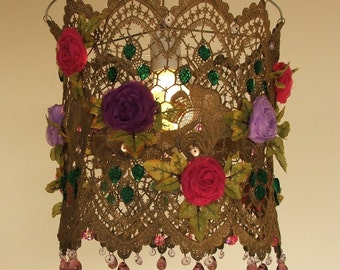 Bohemian Handmade Organza   Flowers in a Lace Ceiling Lampshade
