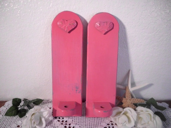 Pink Wall Sconce Candle Holder : Pink Candle Holder Set Rustic Shabby Chic Distressed Wall